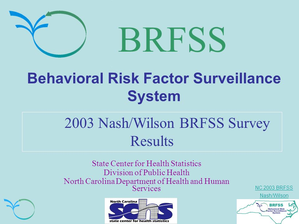 NC 2003 BRFSS Nash/Wilson About this 2002 BRFSS Presentation (cont.) Cautionary Notes: –These results need to be viewed as estimates and not the actual or true value of the outcome of interest.