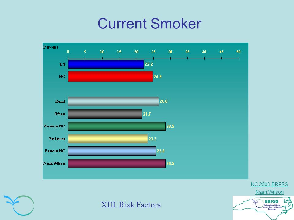 NC 2003 BRFSS Nash/Wilson Current Smoker XIII. Risk Factors