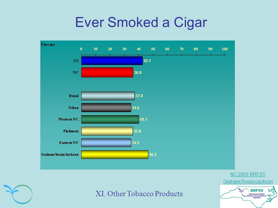 NC 2003 BRFSS Graham/Swain/Jackson Ever Smoked a Cigar XI. Other Tobacco Products