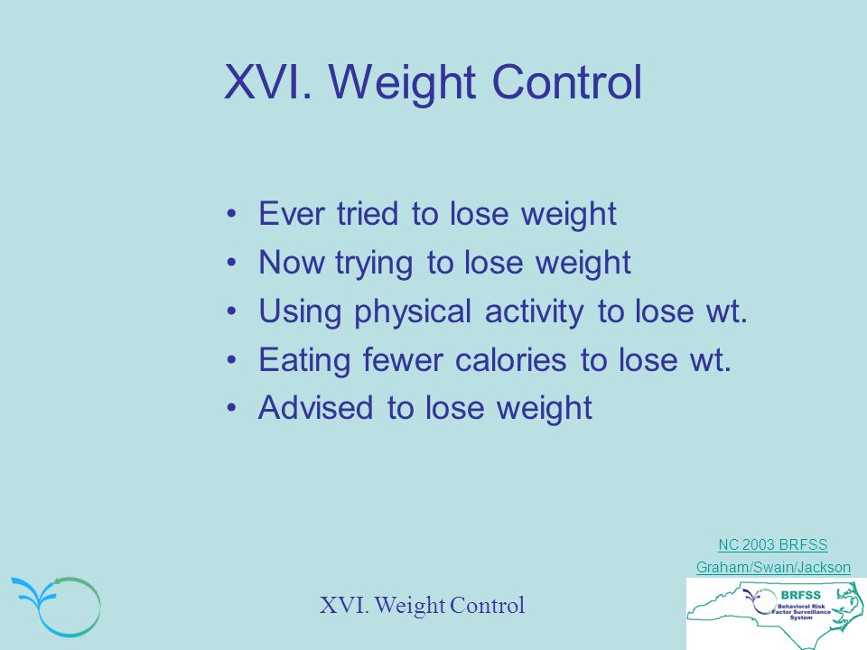 NC 2003 BRFSS Graham/Swain/Jackson XVI. Weight Control Ever tried to lose weight Now trying to lose weight Using physical activity to lose wt. Eating
