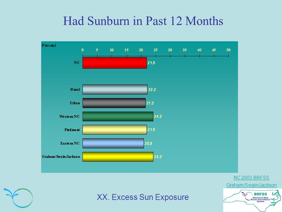 NC 2003 BRFSS Graham/Swain/Jackson Had Sunburn in Past 12 Months XX. Excess Sun Exposure