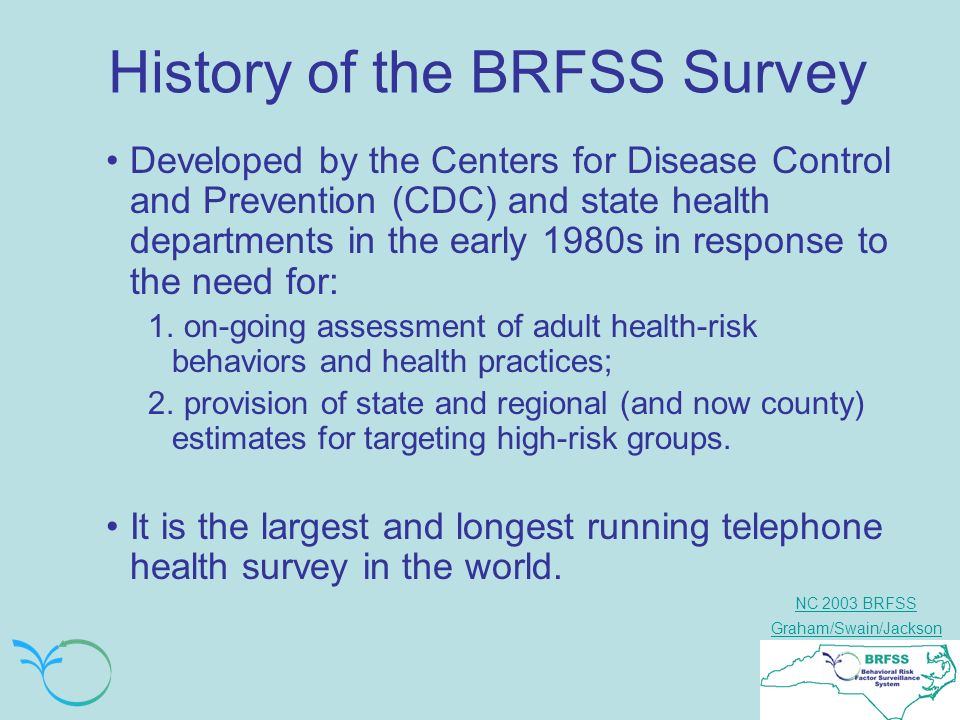 NC 2003 BRFSS Graham/Swain/Jackson History of the BRFSS Survey Developed by the Centers for Disease Control and Prevention (CDC) and state health departments in the early 1980s in response to the need for: 1.