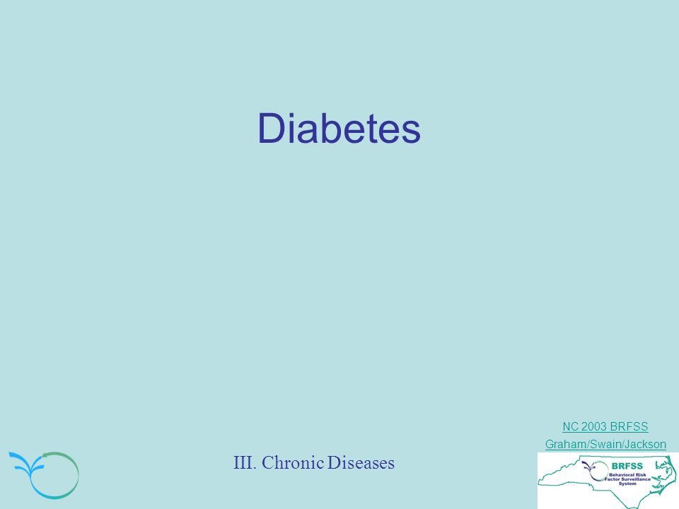 NC 2003 BRFSS Graham/Swain/Jackson III. Chronic Diseases Diabetes