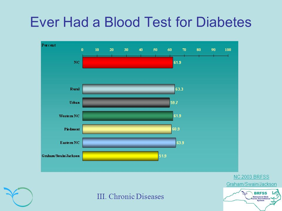 NC 2003 BRFSS Graham/Swain/Jackson Ever Had a Blood Test for Diabetes III. Chronic Diseases