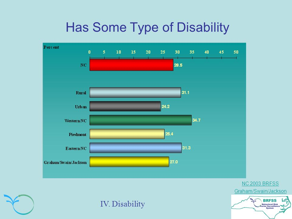 NC 2003 BRFSS Graham/Swain/Jackson Has Some Type of Disability IV. Disability