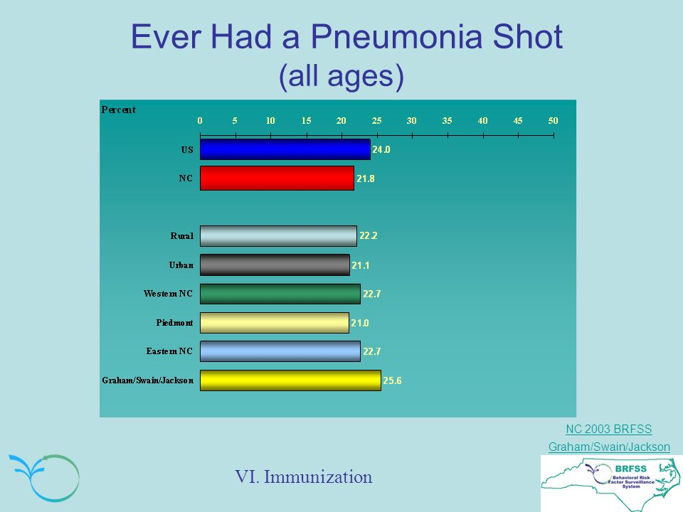 NC 2003 BRFSS Graham/Swain/Jackson Ever Had a Pneumonia Shot (all ages) VI. Immunization