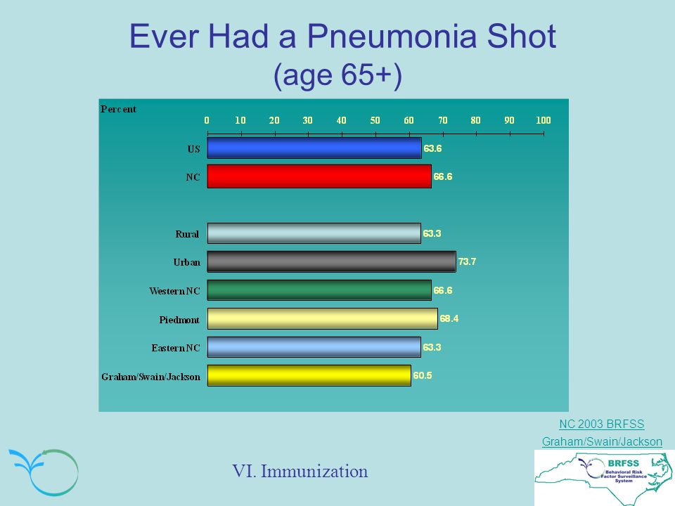 NC 2003 BRFSS Graham/Swain/Jackson Ever Had a Pneumonia Shot (age 65+) VI. Immunization