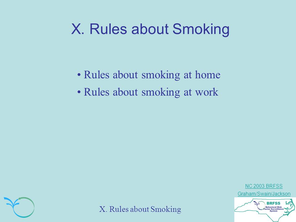 NC 2003 BRFSS Graham/Swain/Jackson X. Rules about Smoking Rules about smoking at home Rules about smoking at work