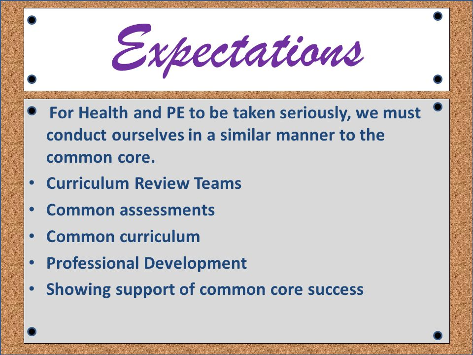 Expectations For Health and PE to be taken seriously, we must conduct ourselves in a similar manner to the common core.