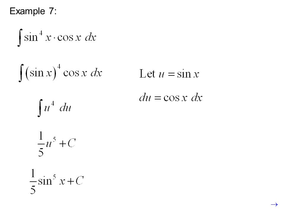 Example 8: The technique is a little different for definite integrals.