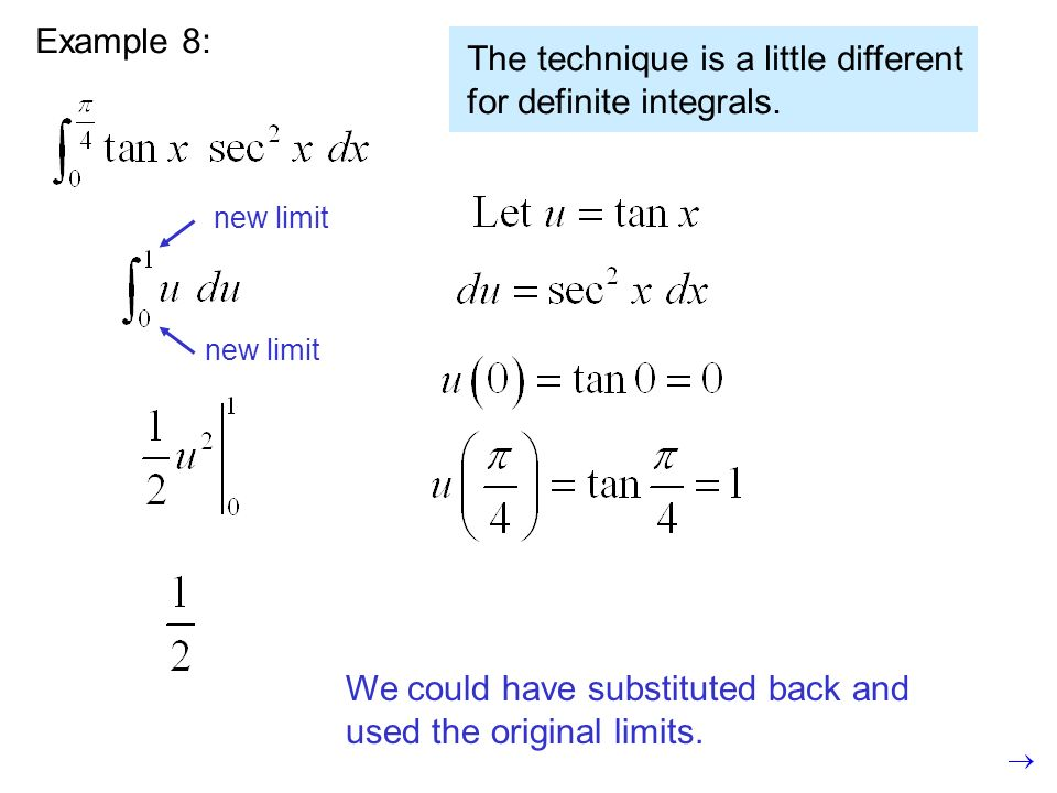 Example 8: Wrong.The limits dont match.