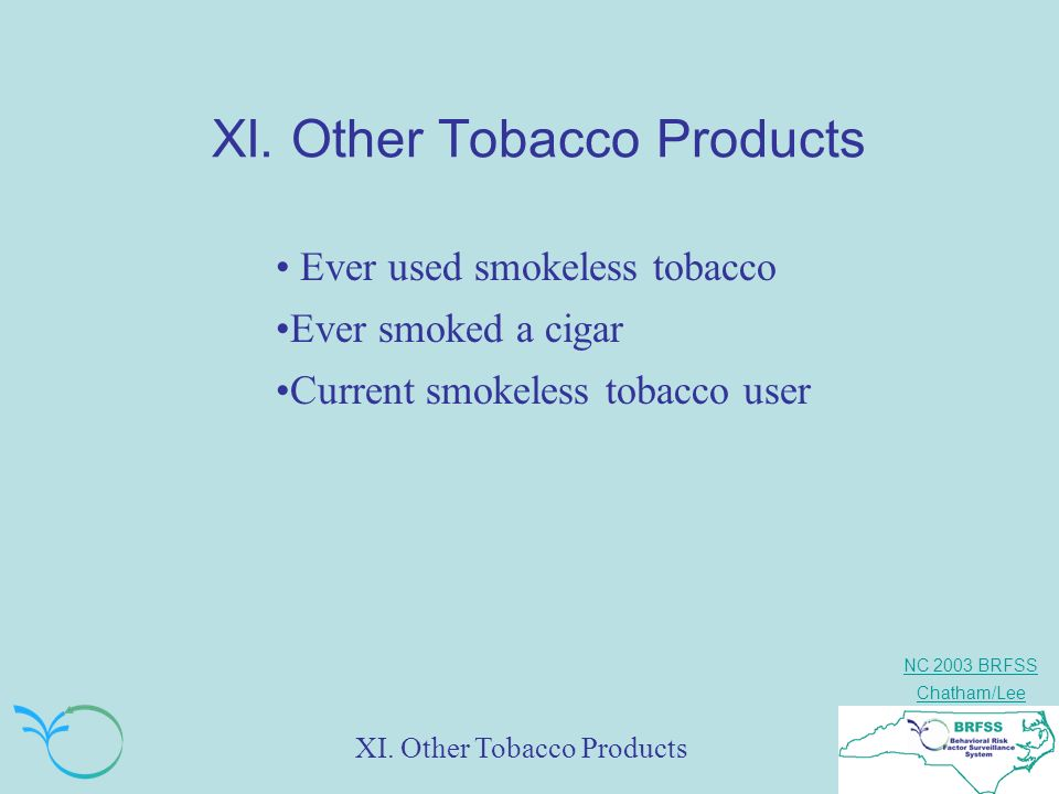 NC 2003 BRFSS Chatham/Lee XI. Other Tobacco Products Ever used smokeless tobacco Ever smoked a cigar Current smokeless tobacco user