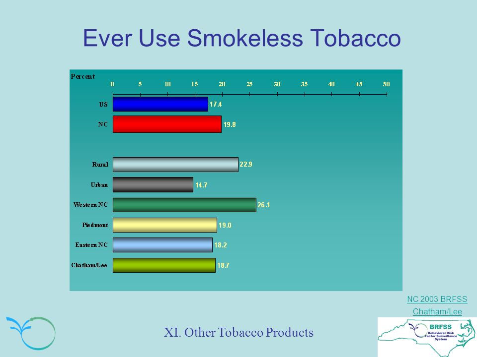 NC 2003 BRFSS Chatham/Lee Ever Use Smokeless Tobacco XI. Other Tobacco Products
