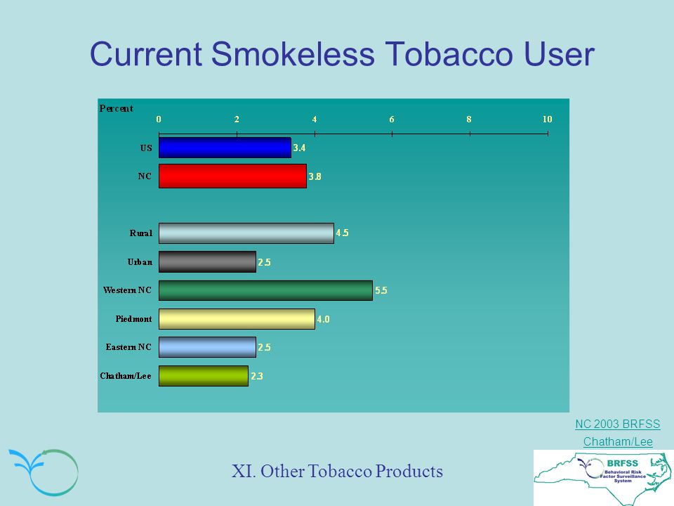 NC 2003 BRFSS Chatham/Lee Current Smokeless Tobacco User XI. Other Tobacco Products