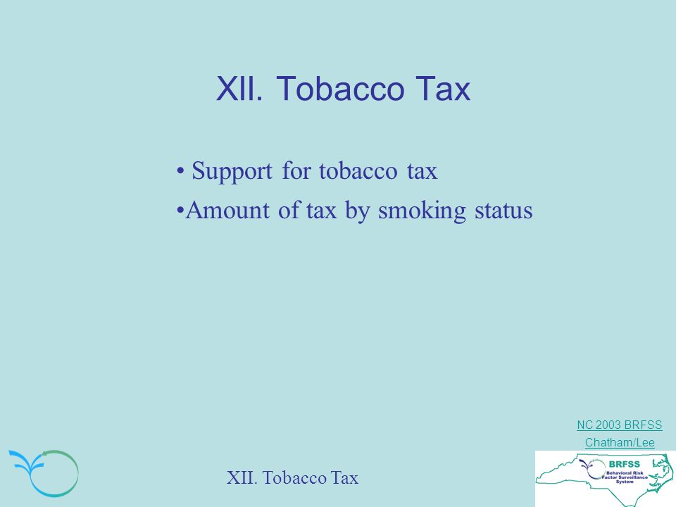 NC 2003 BRFSS Chatham/Lee XII. Tobacco Tax Support for tobacco tax Amount of tax by smoking status