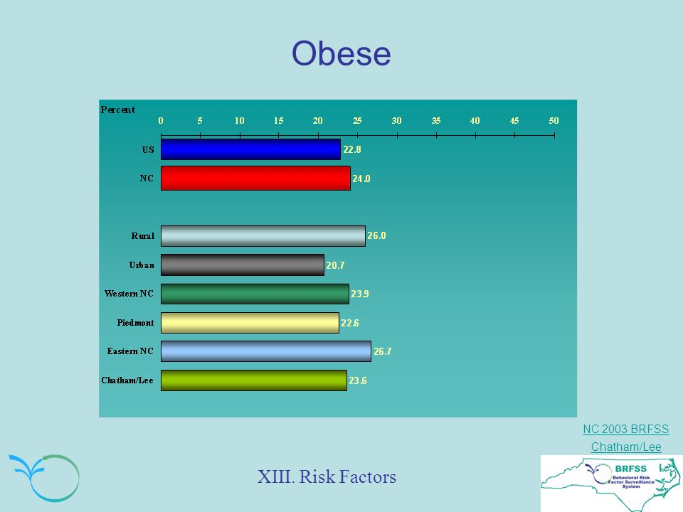 NC 2003 BRFSS Chatham/Lee Obese XIII. Risk Factors