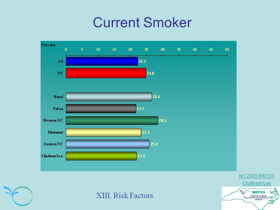 NC 2003 BRFSS Chatham/Lee Current Smoker XIII. Risk Factors