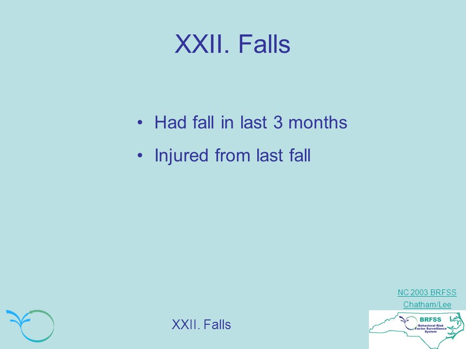 NC 2003 BRFSS Chatham/Lee XXII. Falls Had fall in last 3 months Injured from last fall