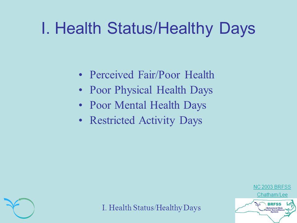 NC 2003 BRFSS Chatham/Lee I. Health Status/Healthy Days Perceived Fair/Poor Health Poor Physical Health Days Poor Mental Health Days Restricted Activi