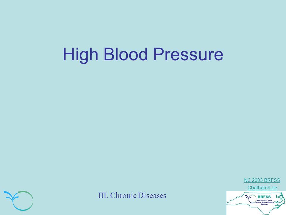 NC 2003 BRFSS Chatham/Lee III. Chronic Diseases High Blood Pressure