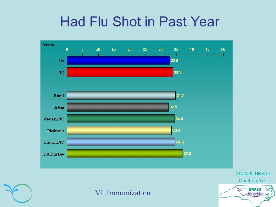 NC 2003 BRFSS Chatham/Lee Had Flu Shot in Past Year VI. Immunization