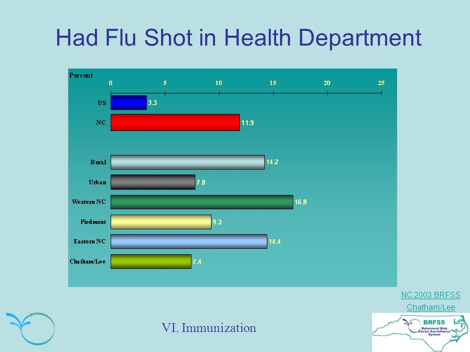 NC 2003 BRFSS Chatham/Lee Had Flu Shot in Health Department VI. Immunization