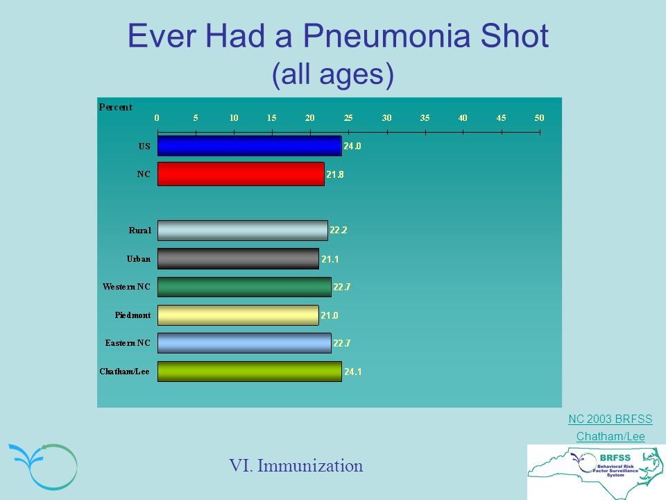 NC 2003 BRFSS Chatham/Lee Ever Had a Pneumonia Shot (all ages) VI. Immunization