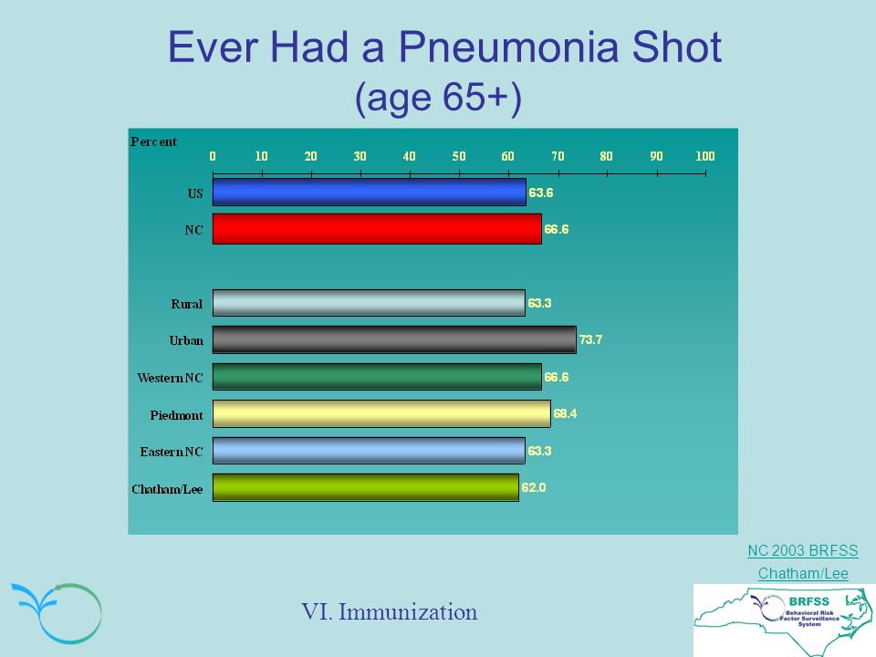 NC 2003 BRFSS Chatham/Lee Ever Had a Pneumonia Shot (age 65+) VI. Immunization