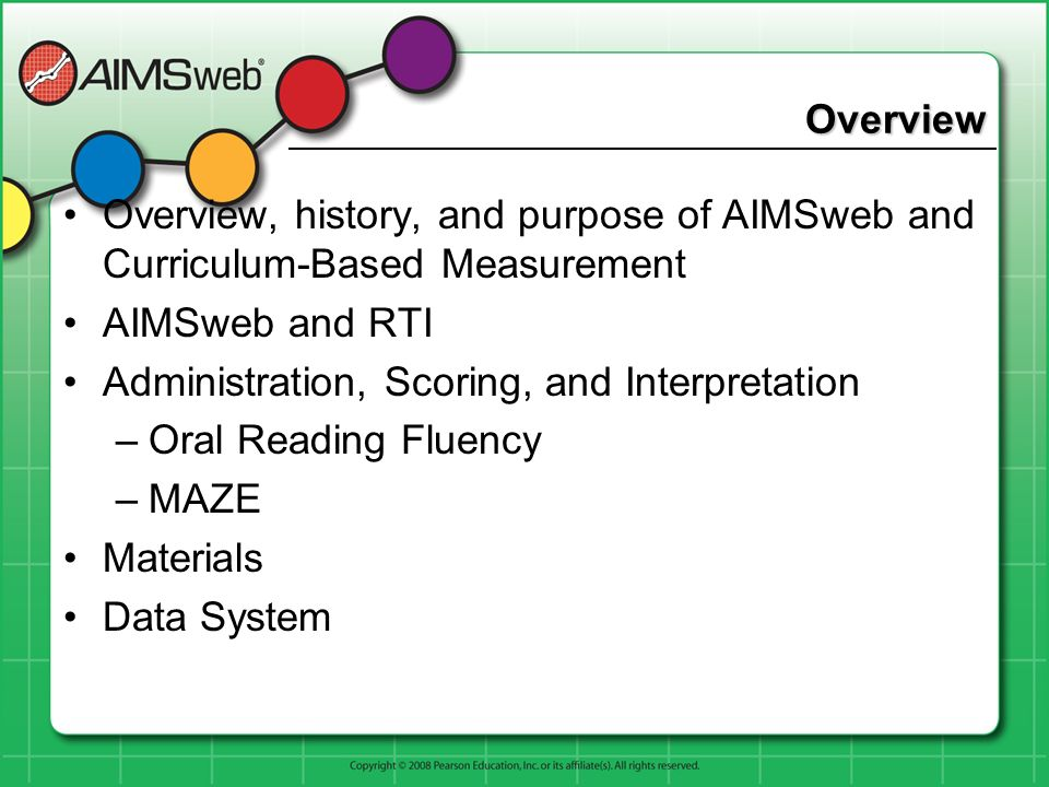 Overview Overview, history, and purpose of AIMSweb and Curriculum-Based Measurement AIMSweb and RTI Administration, Scoring, and Interpretation –Oral
