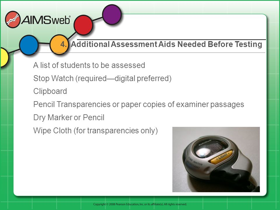 4. Additional Assessment Aids Needed Before Testing A list of students to be assessed Stop Watch (requireddigital preferred) Clipboard Pencil Transpar