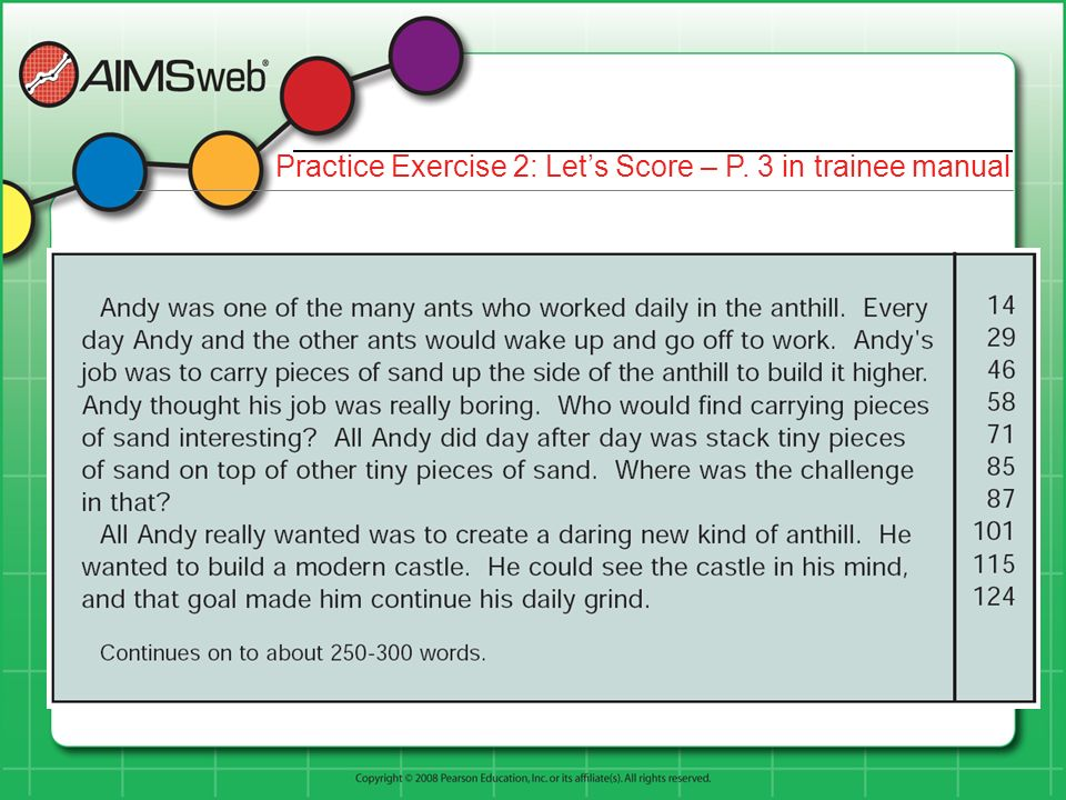 Practice Exercise 2: Lets Score – P. 3 in trainee manual