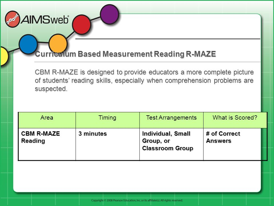 Curriculum Based Measurement Reading R-MAZE AreaTimingTest ArrangementsWhat is Scored? CBM R-MAZE Reading 3 minutes Individual, Small Group, or Classr