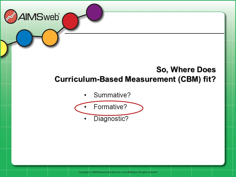 So, Where Does Curriculum-Based Measurement (CBM) fit? Summative? Formative? Diagnostic?