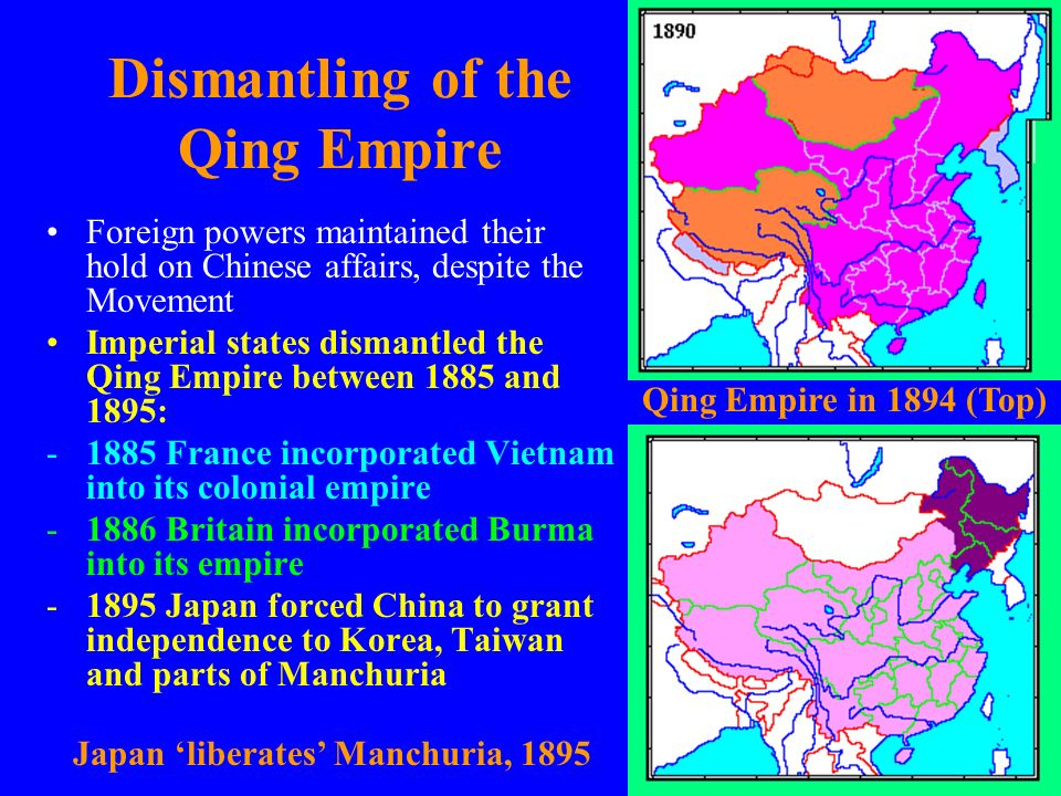 Dismantling of the Qing Empire Foreign powers maintained their hold on Chinese affairs, despite the Movement Imperial states dismantled the Qing Empir