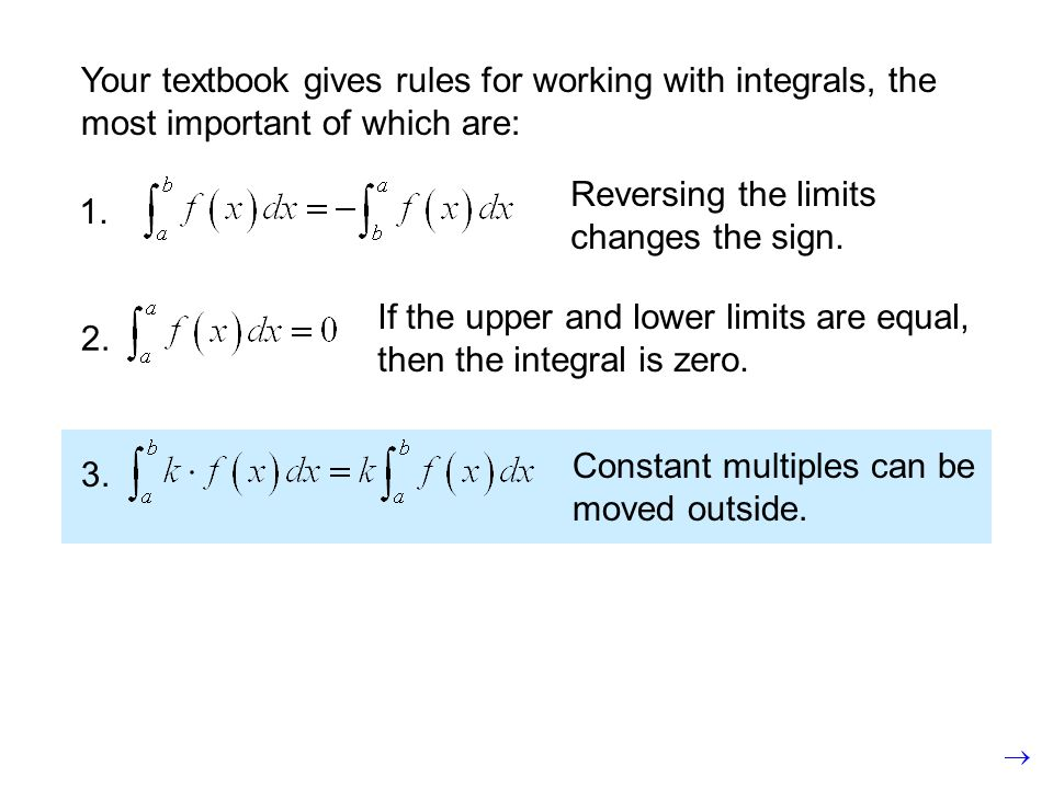Your textbook gives rules for working with integrals, the most important of which are: 2. If the upper and lower limits are equal, then the integral i