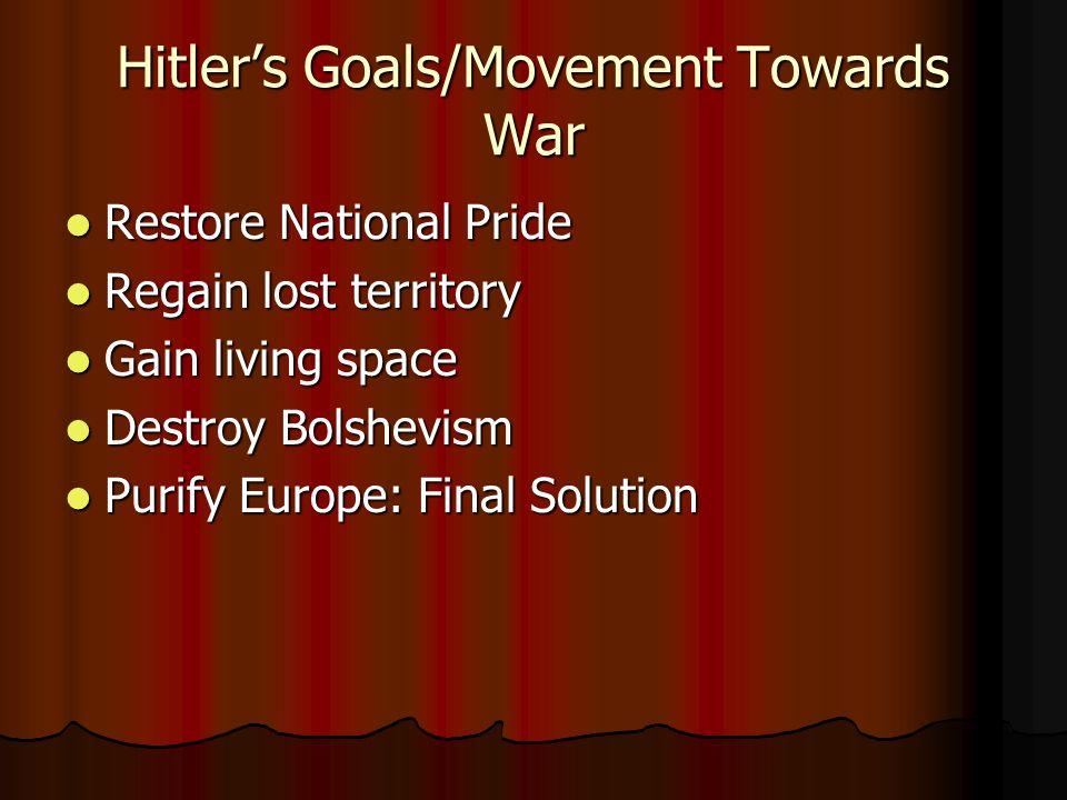 Hitlers Goals/Movement Towards War Restore National Pride Restore National Pride Regain lost territory Regain lost territory Gain living space Gain li