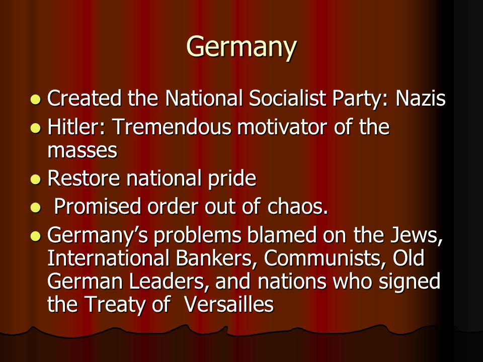 Germany Created the National Socialist Party: Nazis Created the National Socialist Party: Nazis Hitler: Tremendous motivator of the masses Hitler: Tre