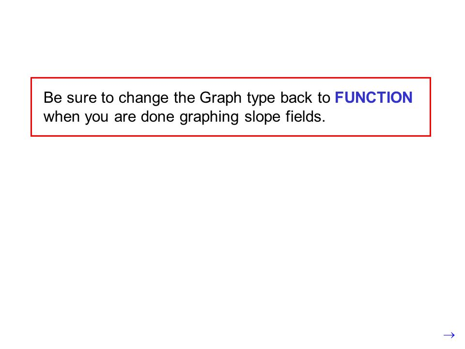 Be sure to change the Graph type back to FUNCTION when you are done graphing slope fields.