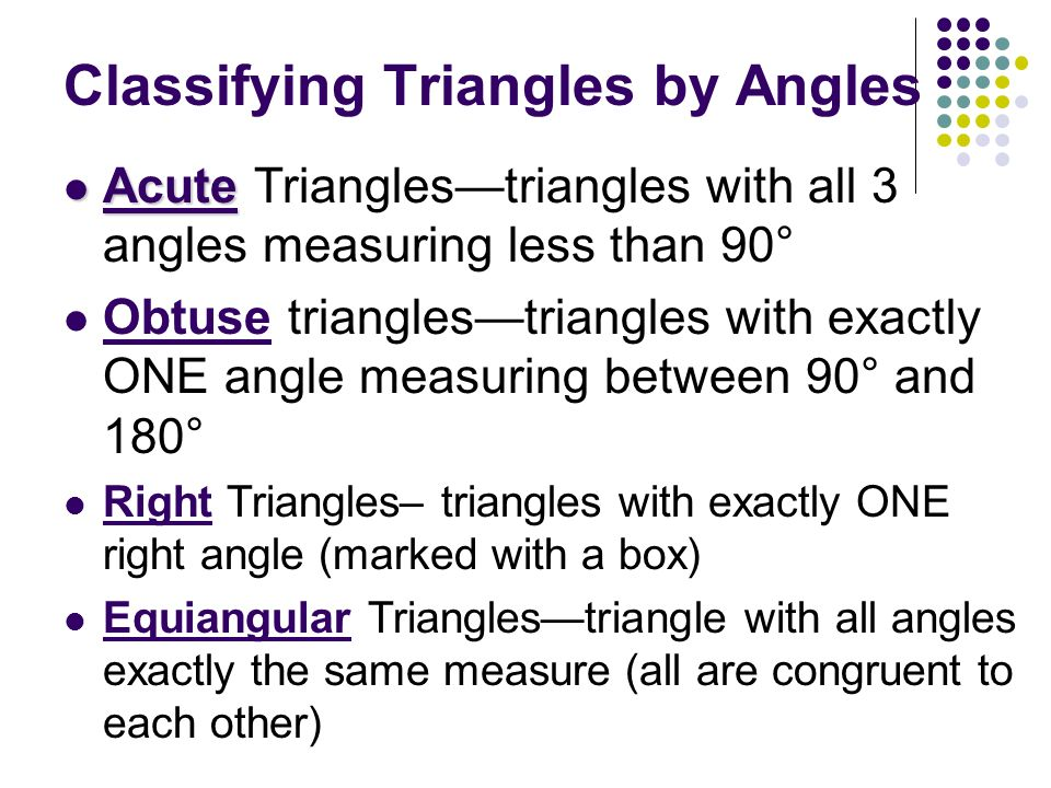 Classifying Triangles by Angles Acute Acute Trianglestriangles with all 3 angles measuring less than 90° Obtuse trianglestriangles with exactly ONE an