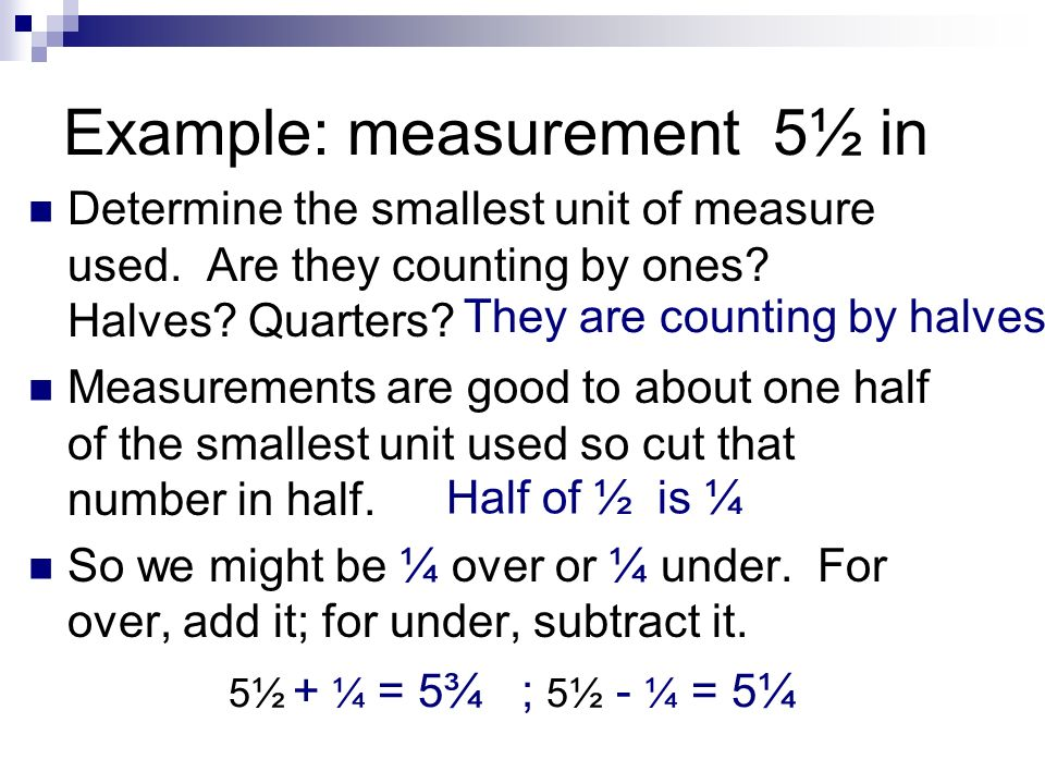 Example: measurement 5½ in Determine the smallest unit of measure used.