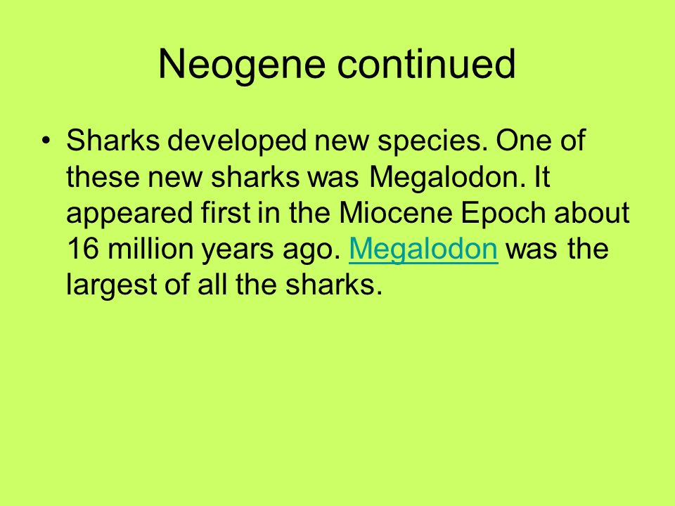 Neogene continued Sharks developed new species. One of these new sharks was Megalodon. It appeared first in the Miocene Epoch about 16 million years a