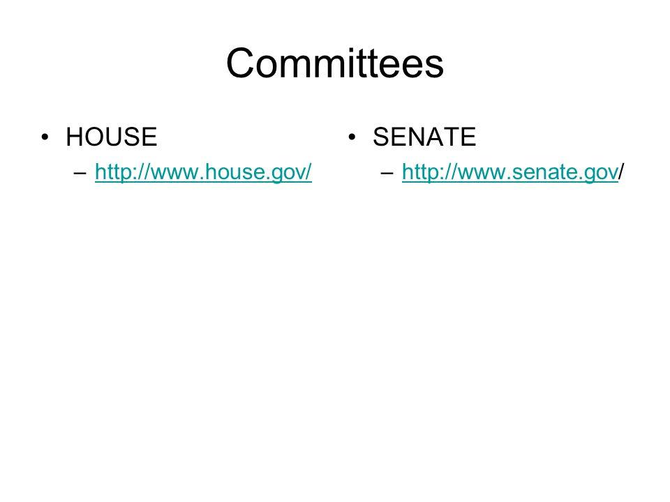 Committees HOUSE –http://www.house.gov/http://www.house.gov/ SENATE –http://www.senate.gov/http://www.senate.gov