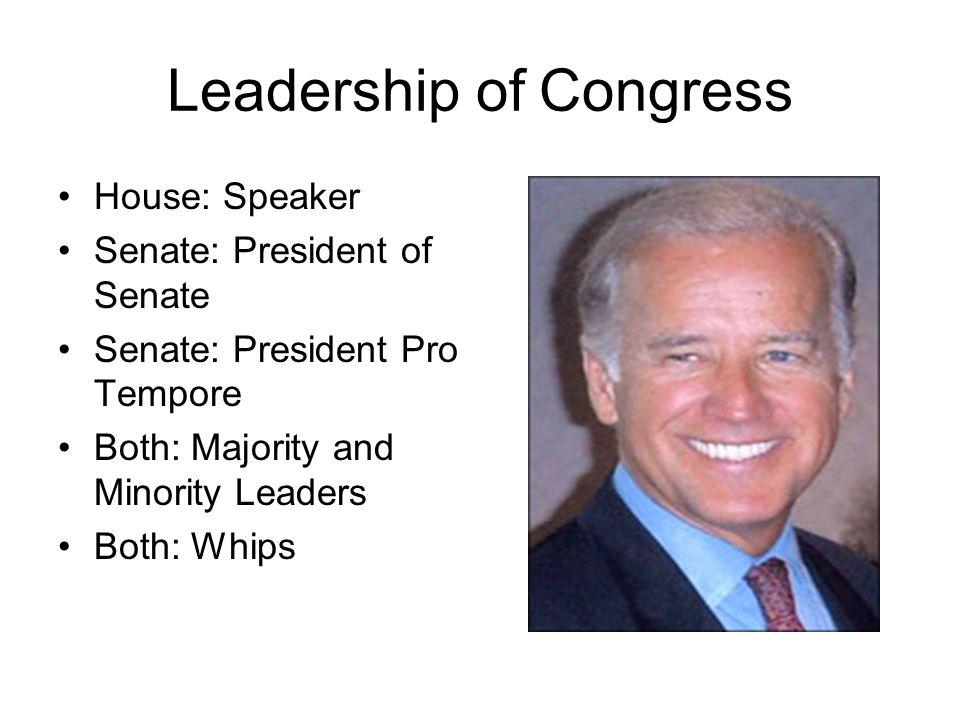 Leadership of Congress House: Speaker Senate: President of Senate Senate: President Pro Tempore Both: Majority and Minority Leaders Both: Whips