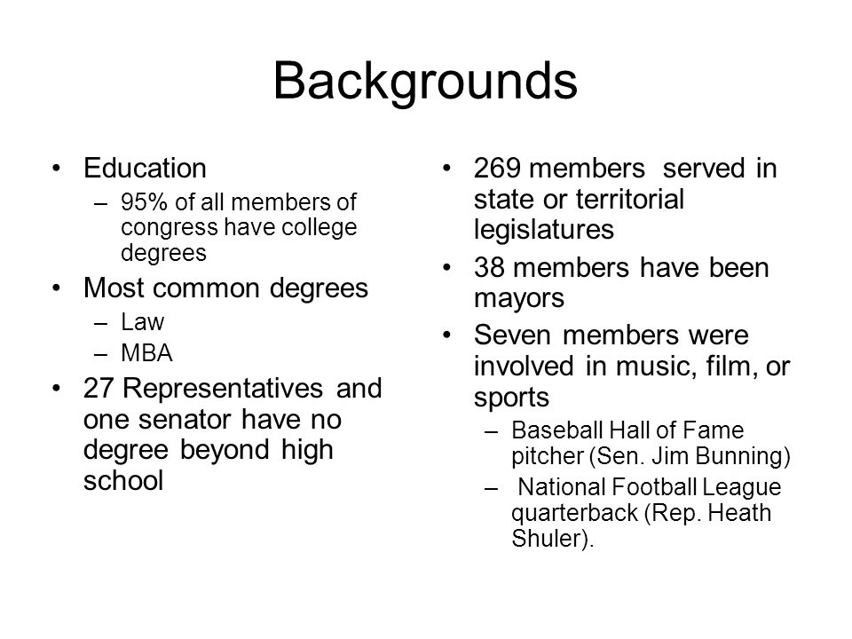 Backgrounds Education –95% of all members of congress have college degrees Most common degrees –Law –MBA 27 Representatives and one senator have no de