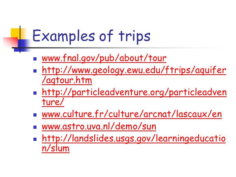 Examples of trips www.fnal.gov/pub/about/tour http://www.geology.ewu.edu/ftrips/aquifer /aqtour.htm http://www.geology.ewu.edu/ftrips/aquifer /aqtour.htm http://particleadventure.org/particleadven ture/ http://particleadventure.org/particleadven ture/ www.culture.fr/culture/arcnat/lascaux/en www.astro.uva.nl/demo/sun http://landslides.usgs.gov/learningeducatio n/slum http://landslides.usgs.gov/learningeducatio n/slum