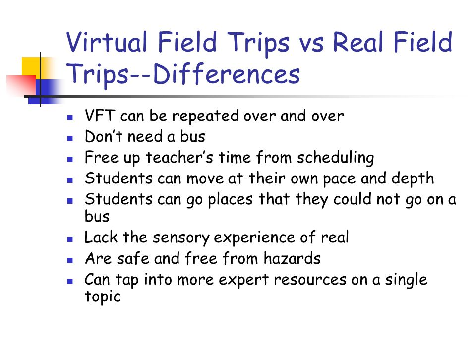 Three Categories of Trips Trips that utilize existing web resources and visits other web sites.