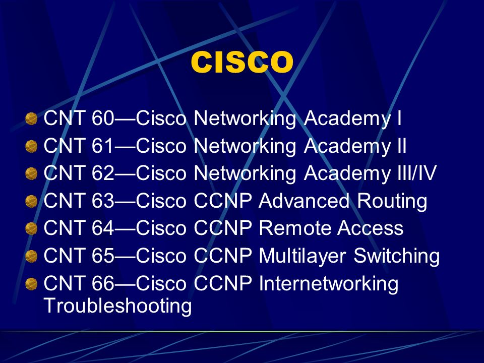Networking/A+ CNT 50Intro to Desktop Operating Systems CNT 51A+ Computer Fundamentals CNT 52Networking Fundamentals CNT 54Windows Professional CNT 55Windows Server CNT 56Implementing Windows Network Infrastructure CNT 57Implementing Windows Active Directory Services