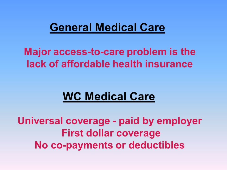 General Medical Care Major access-to-care problem is the lack of affordable health insurance WC Medical Care Universal coverage - paid by employer First dollar coverage No co-payments or deductibles
