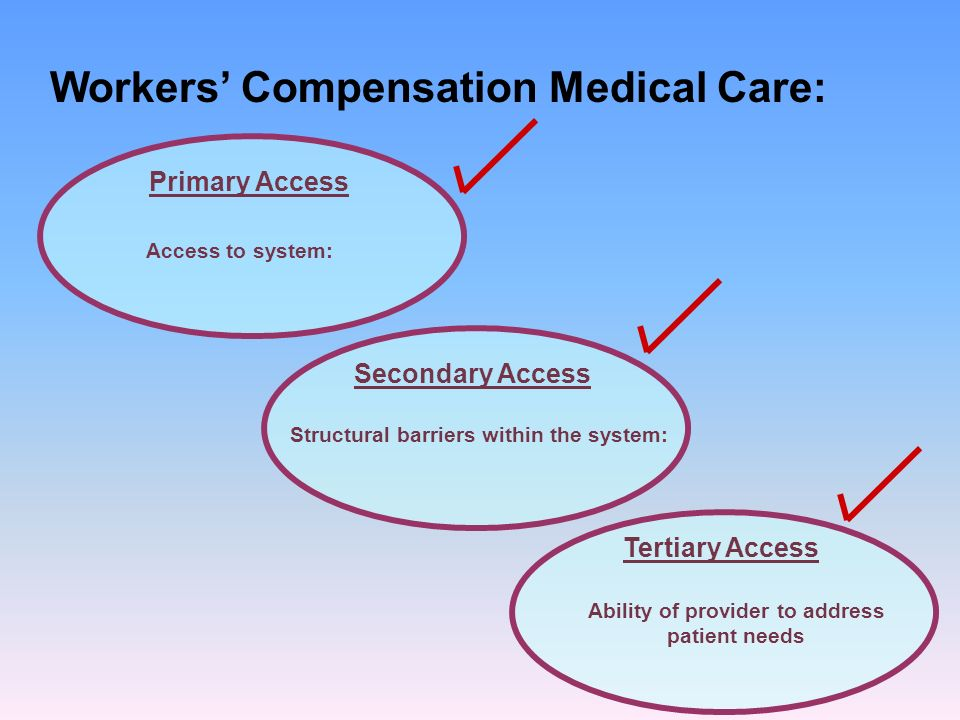Workers Compensation Medical Care: Primary Access Secondary Access Tertiary Access Access to system: Structural barriers within the system: Ability of provider to address patient needs