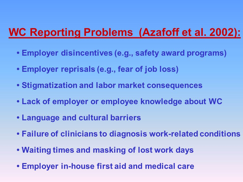 WC Reporting Problems (Azafoff et al.